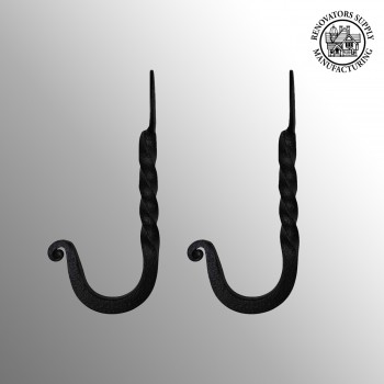 2 Robe Hook Black Wrought Iron Twist Hook