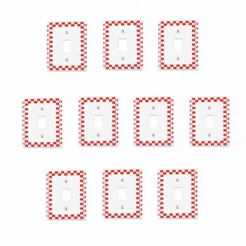 10 Switch Plate Red Porcelain Checkered Single Toggle Red Switch Plate Wall Plates Switch Plates