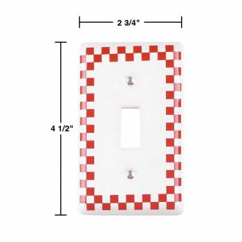 spec-<PRE>10 Switch Plate Red Porcelain Checkered Single Toggle </PRE>