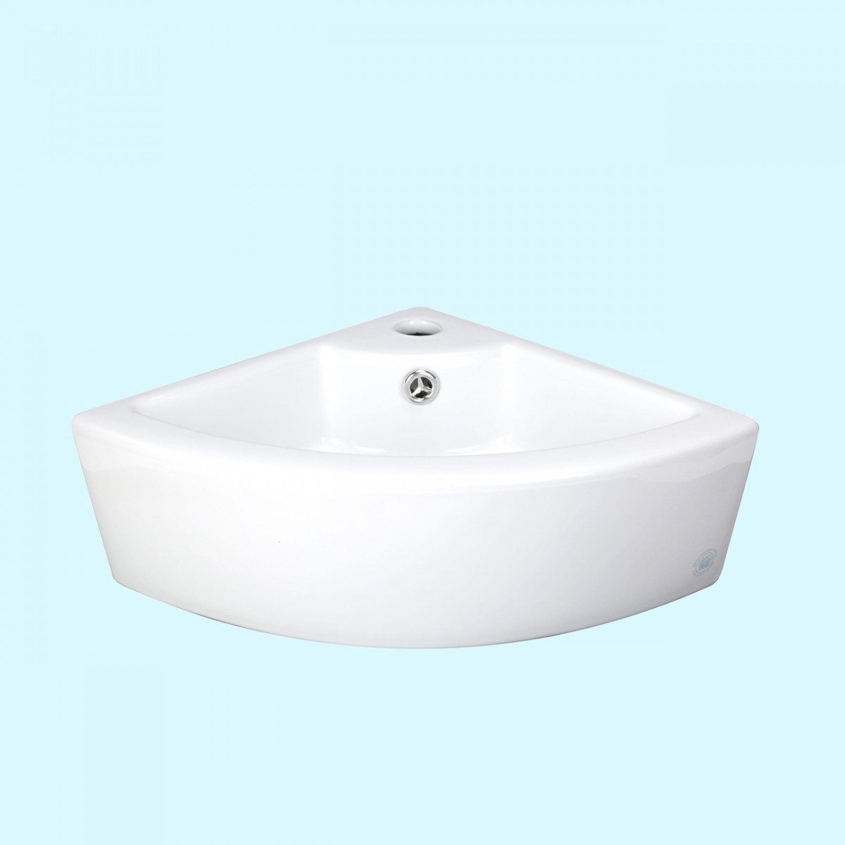 Small white china corner sink above counter triangle shape for Small sinks for bathrooms