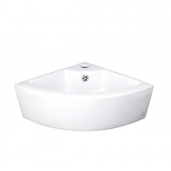Bathroom Corner Countertop Vessel Sink White Ceramic with Overflow & Faucet Hole25286grid
