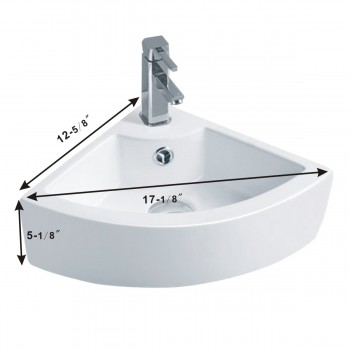 spec-<PRE>Bathroom Triangle Small White Corner Vessel Sink Above Counter Stain Resist</PRE>