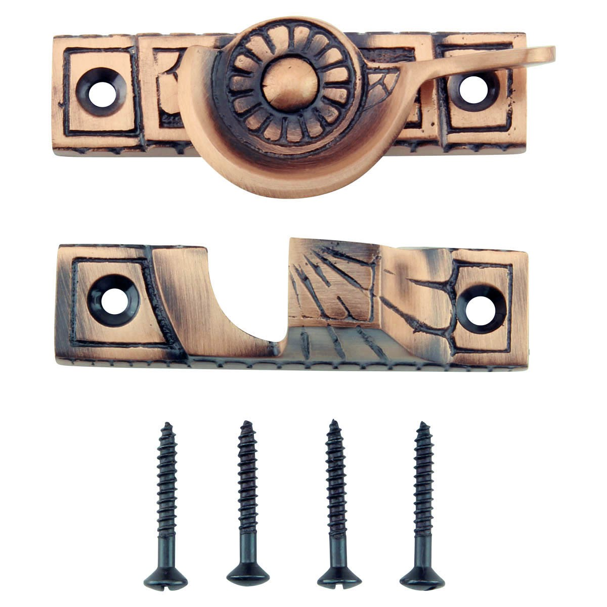 4 Ornate Solid Antique Brass Window Sash Lock Window Pulls Window Lifts Sash Lift