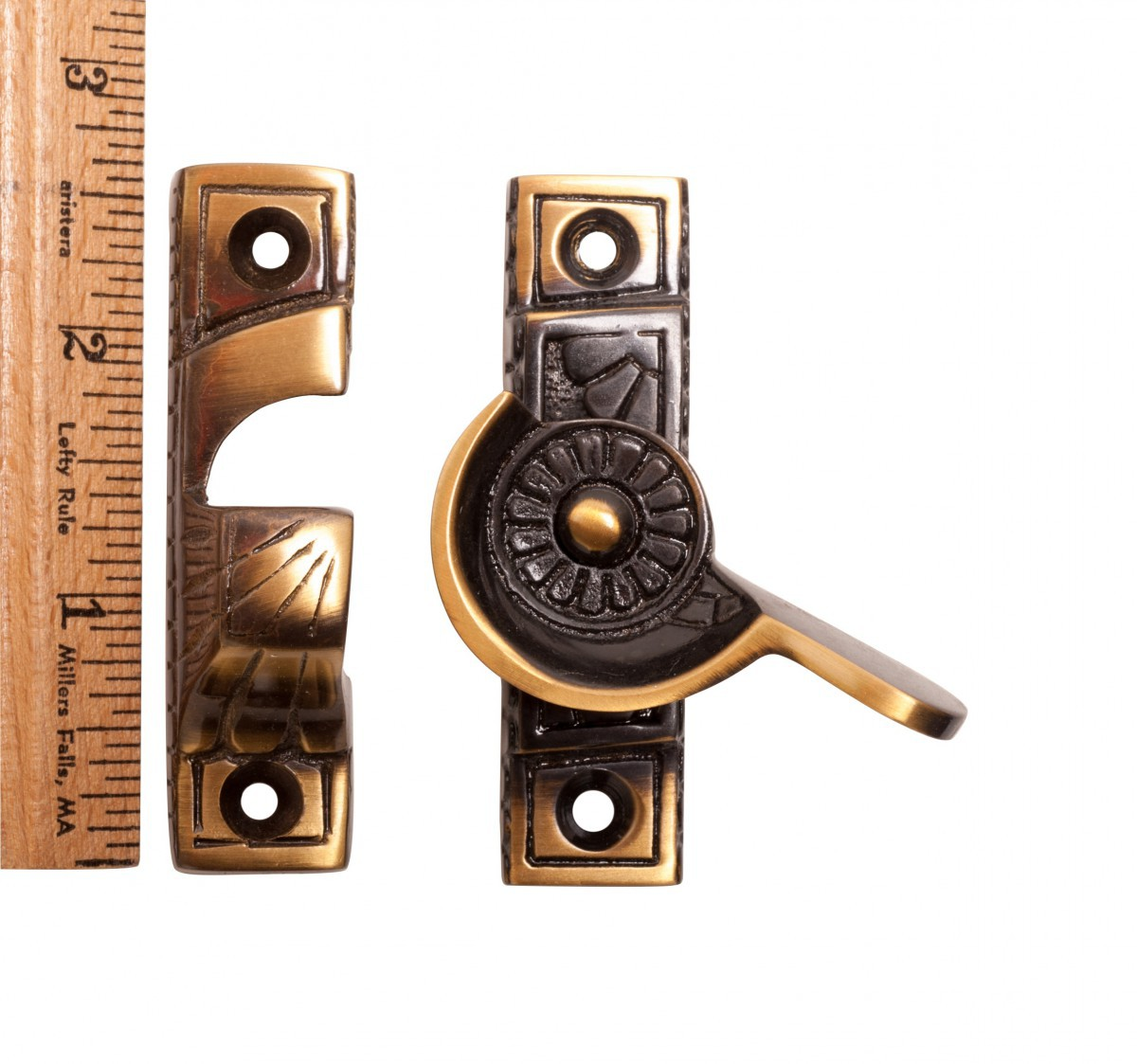 <PRE>4 Ornate Solid Antique Brass Window Sash Lock </PRE>