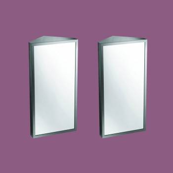 <PRE>Brushed Stainless Steel Medicine Cabinet Corner Wall Mount Set of 2</PRE>zoom2