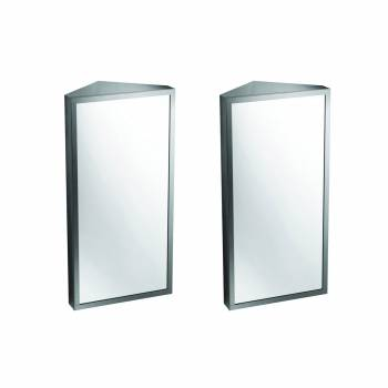 Brushed Stainless Steel Medicine Cabinet Corner Wall Mount Set of 2
