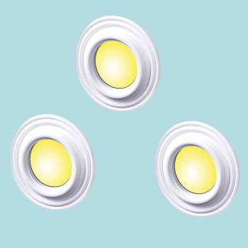 <PRE>Spot Light Trim Medallions White Urethane 4inch ID Set of 3 </PRE>zoom2