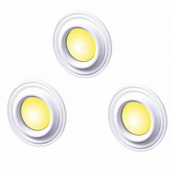 <PRE>Spot Light Trim Medallions White Urethane 4inch ID Set of 3 </PRE>zoom1