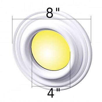 "spec-<PRE>Spot Light Trim Medallions White Urethane 4"" ID Set of 3 </PRE>"