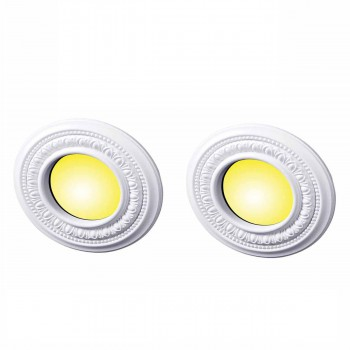 2 Spot Light Trim Medallions 4 ID White Urethane Set of 2