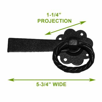 spec-<PRE>2 Floral Gate Latch Heavy Duty Wrought Iron  5&quot; W </PRE>