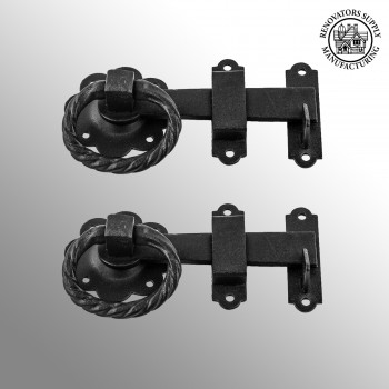 <PRE>2 Wrought Iron Gate Latch Floral Pattern Black Rustproof 6inch </PRE>zoom2