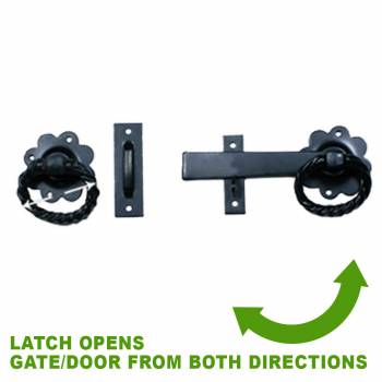 spec-<PRE>2 Wrought Iron Gate Latch Floral Pattern Black Rustproof 6&quot; </PRE>