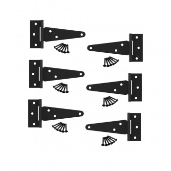 <PRE>6 Pcs T Strap Door Hinges Black Cast Iron 5&quot; </PRE>