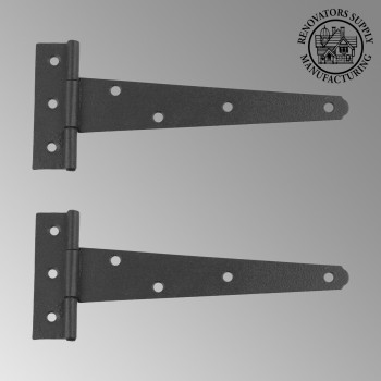 <PRE>2 T Strap Door Hinge RSF Black Iron Light Duty 7inch Set of 2 </PRE>zoom2