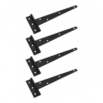 Tee Hinges Black Iron Rustproof Finish 9in Wide with Screws Set of 4