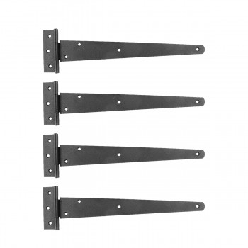 13in T Strap Door Hinges Iron Black Rustproof Finish Set of 4