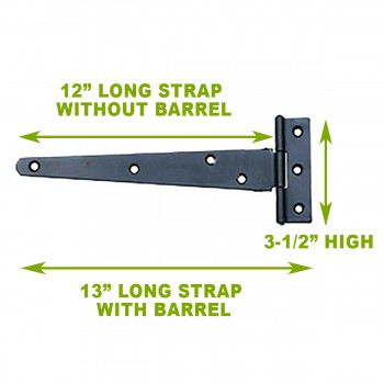 spec-<PRE>13in T Strap Door Hinges Iron Black Rustproof Finish Set of 4</PRE>
