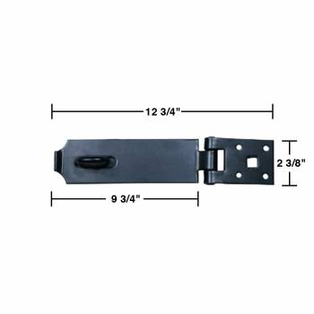 spec-<PRE>4 Hasp Black Iron 2 3/8&quot; H x 12 3/4&quot; W 4 Pack </PRE>