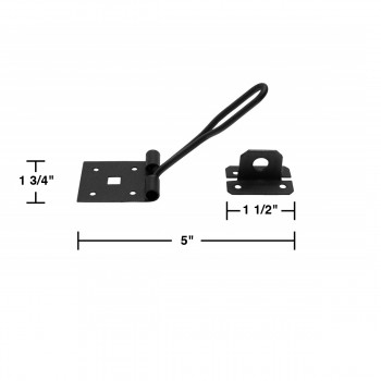 spec-<PRE>6 Hasp Black Wrought Iron Wire 1 3/4&quot; H x 5&quot; W </PRE>