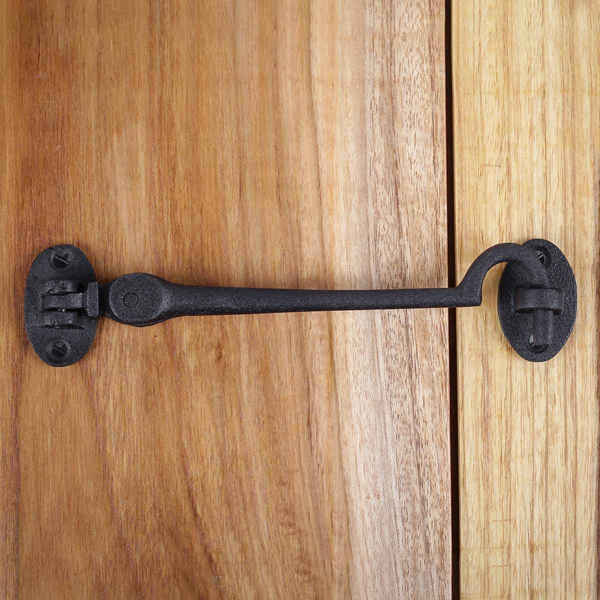 Black Wrought Iron Eye Hook 6 in Rustproof Cabins Gates Doors Lockers Pack of 2 Hooks Decorative Hook Coat Hook