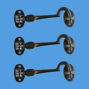 <PRE>Cabin Eye Hook Black Wrought Iron 4inch Wide - Set of 3 </PRE>zoom2