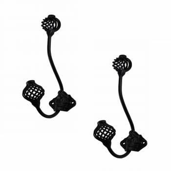 Double Hook Wrought Iron Black Birdcage 8 Pack of 2