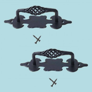 <PRE>2 Cabinet Pull Birdcage Black Wrought Iron 6inch </PRE>zoom2
