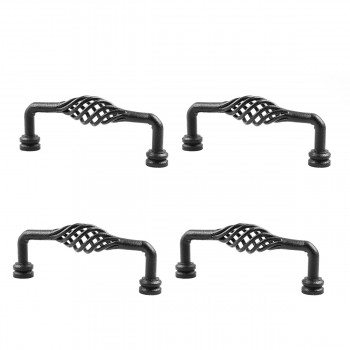 6 Black Wrought Iron Drawer Handle Cabinet Pull Birdcage Design Pack of 4