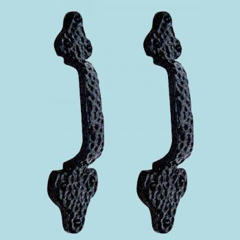 <PRE>2 Door Pull Leaf Black Wrought Iron 8inch </PRE>zoom2