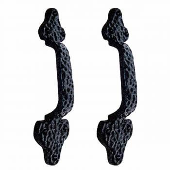 <PRE>2 Door Pull Leaf Black Wrought Iron 8inch </PRE>zoom1