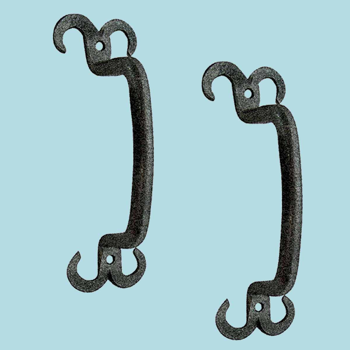 2 Cabinet Pull Drawer Handle Horn Black Wrought Iron 4 1/2\