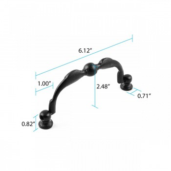 "spec-<PRE>6 Cabinet or Drawer Bail Pull 6"" Wrought Iron </PRE>"