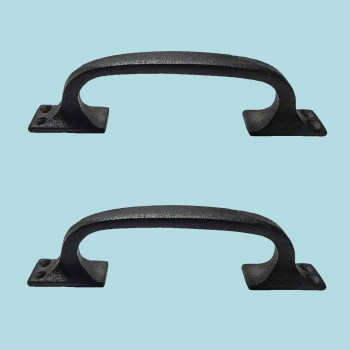 Black Wrought Iron Pull for Drawer or Door 6 in. Set of 2 Wrought Iron Rustic Antique Black Door Pull Handle Hardware