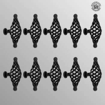 <PRE>10 Door or Drawer Cabinet Pull Birdcage Black Iron 3 1/4inch </PRE>zoom2