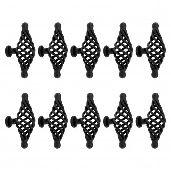 10 Door or Drawer Cabinet Pull Birdcage Black Iron 3 1/2