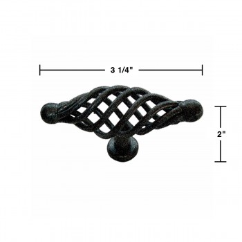 "spec-<PRE>10 Door or Drawer Cabinet Pull Birdcage Black Iron 3 1/2"" </PRE>"