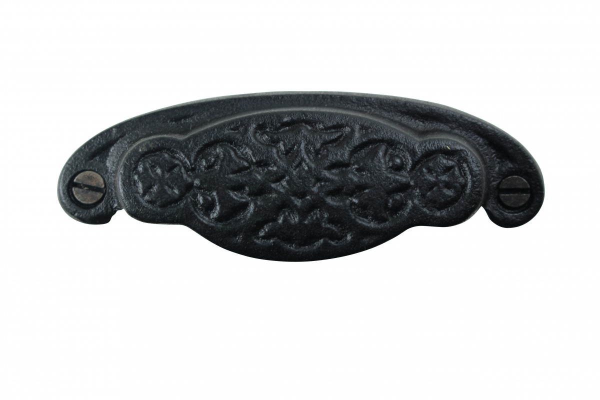 6 Cabinet or Drawer Bin Pull Black Iron Cup 3 34 Cabinet Pull Cabinet Hardware Cabinet or Drawer Pulls