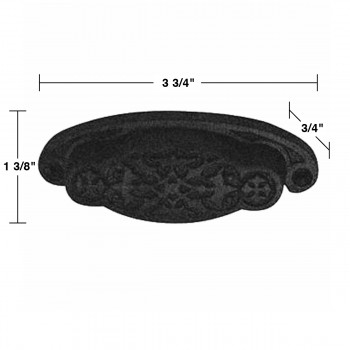 spec-<PRE>6 Cabinet or Drawer Bin Pull Black Iron Cup 3 3/4&quot;  </PRE>