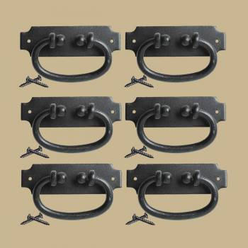 Black Drawer Pull Hepplewhite Wrought Iron 5.25 in W Set of 6 Door Pull Door Pulls