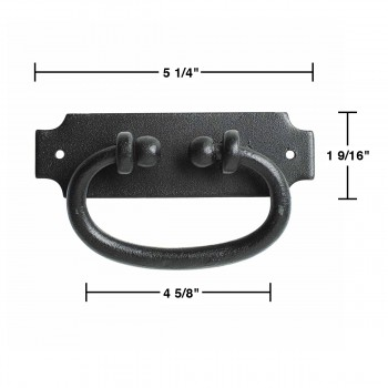 spec-<PRE>Black Drawer Pull Hepplewhite Wrought Iron 5.25 in W Set of 6</PRE>