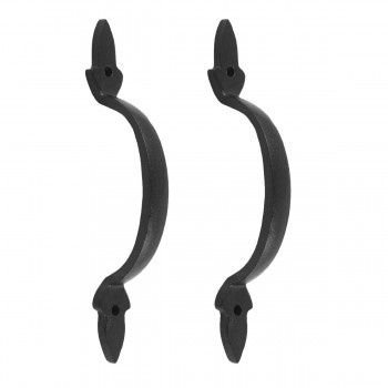 2 Door Pulls Black Wrought Iron Fleur de Lis Set of 2