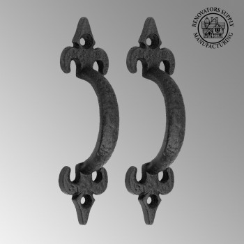 2 Door or Drawer Pull Black Wrought Iron Fleur de Lis 4 Door Pull Door Pulls