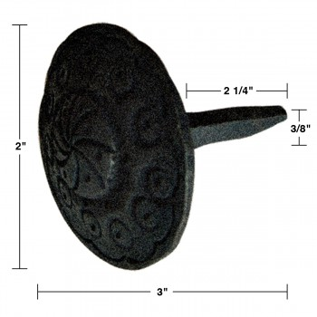 spec-<PRE>4 Black Iron Nails Round Clavos Decorative Wrought Iron Nails 3 Inch X 2 Inch</PRE>