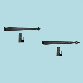 <PRE>2 Pintle Bean Door Hinge Black Wrought Iron 24 1/2&quot; H </PRE>