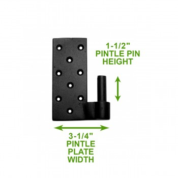 spec-<PRE>2 Pintle Bean Door Hinge Black Wrought Iron 24 1/2&quot; H </PRE>