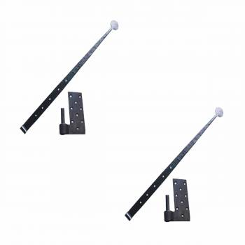 2 Pintle Hinges Bean Tip Black Wrought Iron Set of 2