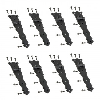 8 Strap Hinges Black Wrought Iron Fleur de Lis Set of 8