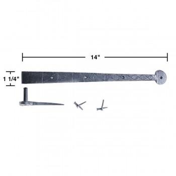 "spec-<PRE>2 Bean Diamond Etch Pintle Door Strap Hinge Iron 14"" </PRE>"