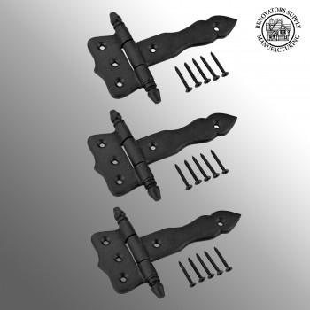 <PRE>Black Wrought Iron Strap Hinges Rustproof 5 in. Set of 3 </PRE>